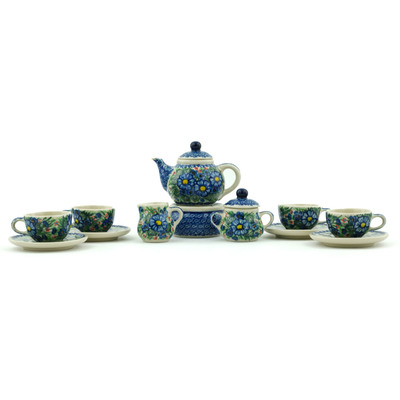 Polish Pottery 3-inch Miniature Tea Set | Boleslawiec Stoneware | Polmedia H3976H
