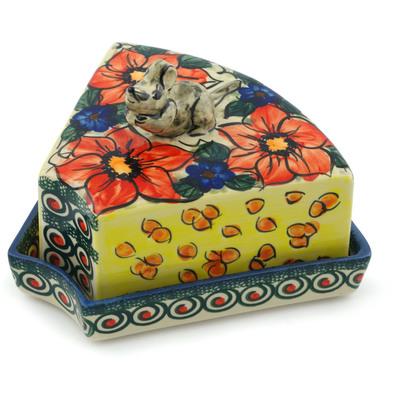 Polish Pottery 8-inch Mouse Cheese Dish | Boleslawiec Stoneware | Polmedia H5350I