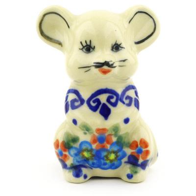 Polish Pottery 3-inch Mouse Figurine | Boleslawiec Stoneware | Polmedia H6454F