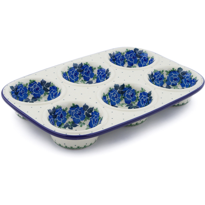 Polish Pottery 11-inch Muffin Pan | Boleslawiec Stoneware | Polmedia H1166J