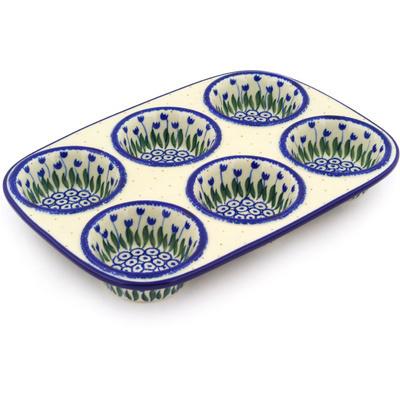 Polish Pottery 11-inch Muffin Pan | Boleslawiec Stoneware | Polmedia H1902F