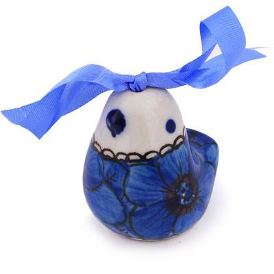 Polish Pottery 2-inch Ornament Bird Bell | Boleslawiec Stoneware | Polmedia H5676G