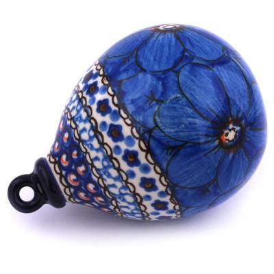 Polish Pottery 4-inch Ornament Christmas Ball | Boleslawiec Stoneware | Polmedia H5569G
