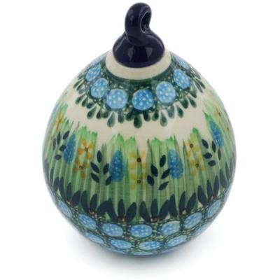 Polish Pottery 4-inch Ornament Christmas Ball | Boleslawiec Stoneware | Polmedia H4889G