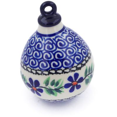 Polish Pottery 4-inch Ornament Christmas Ball | Boleslawiec Stoneware | Polmedia H7546I