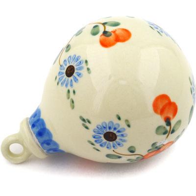 Polish Pottery 4-inch Ornament Christmas Ball | Boleslawiec Stoneware | Polmedia H6246D