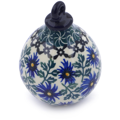 Polish Pottery 4-inch Ornament Christmas Ball | Boleslawiec Stoneware | Polmedia H7547I