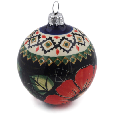 Polish Pottery 4-inch Ornament Christmas Ball | Boleslawiec Stoneware | Polmedia H9557B