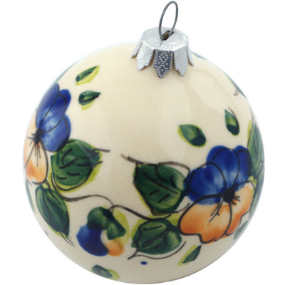 Polish Pottery 4-inch Ornament Christmas Ball   Boleslawiec Stoneware   Polmedia H5298I