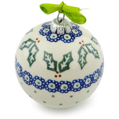 Polish Pottery 4-inch Ornament Christmas Ball | Boleslawiec Stoneware | Polmedia H4201I