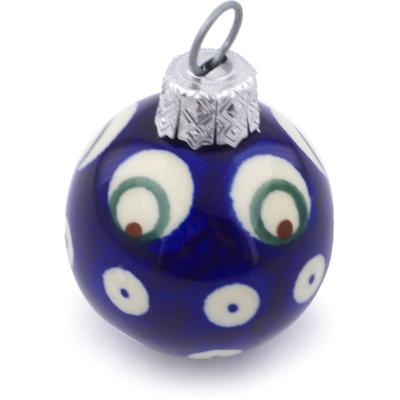 Polish Pottery 2-inch Ornament Christmas Ball   Boleslawiec Stoneware   Polmedia H5961I
