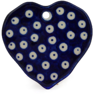 Polish Pottery 2-inch Ornament Heart | Boleslawiec Stoneware | Polmedia H0379E