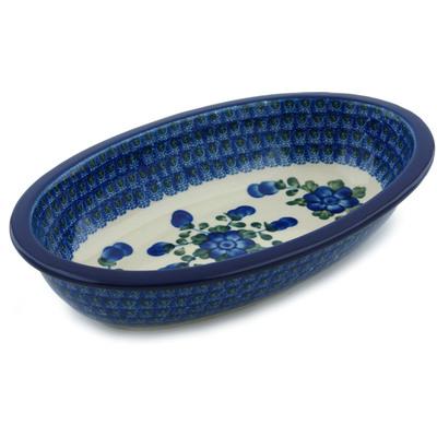 Polish Pottery 11-inch Oval Baker | Boleslawiec Stoneware | Polmedia H4071A