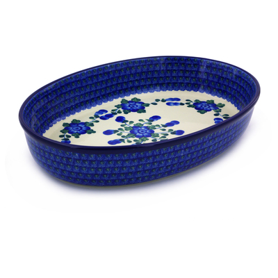 Polish Pottery 14-inch Oval Baker | Boleslawiec Stoneware | Polmedia H5860B