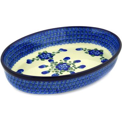 Polish Pottery 12-inch Oval Baker | Boleslawiec Stoneware | Polmedia H1994D