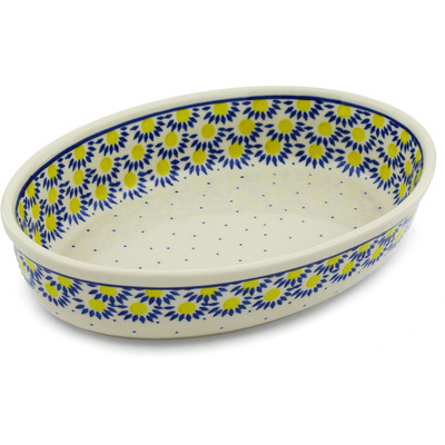 Polish Pottery 11-inch Oval Baker | Boleslawiec Stoneware | Polmedia H1846H