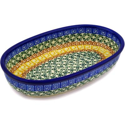 Polish Pottery 8-inch Oval Baker | Boleslawiec Stoneware | Polmedia H0089D