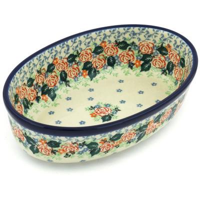 Polish Pottery 8-inch Oval Baker | Boleslawiec Stoneware | Polmedia H8718G