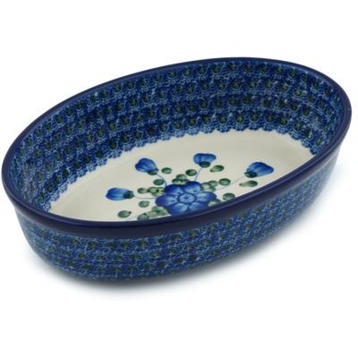 Polish Pottery 8-inch Oval Baker | Boleslawiec Stoneware | Polmedia H5866B