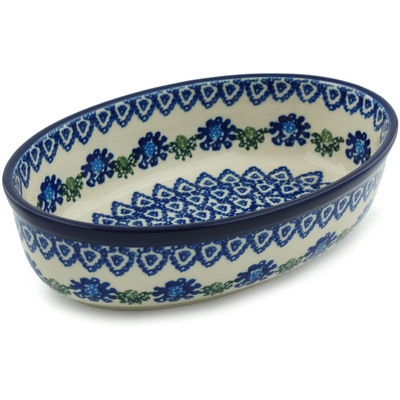 Polish Pottery 8-inch Oval Baker | Boleslawiec Stoneware | Polmedia H5360A