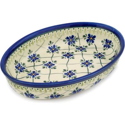 Polish Pottery 11-inch Oval Baker | Boleslawiec Stoneware | Polmedia H6632C