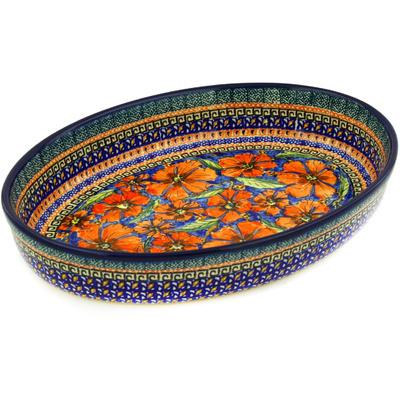 Polish Pottery 12-inch Oval Baker | Boleslawiec Stoneware | Polmedia H1420E