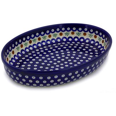 Polish Pottery 12-inch Oval Baker | Boleslawiec Stoneware | Polmedia H7935A