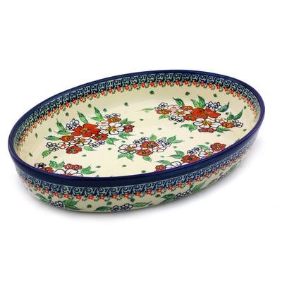 Polish Pottery 14-inch Oval Baker | Boleslawiec Stoneware | Polmedia H4320I