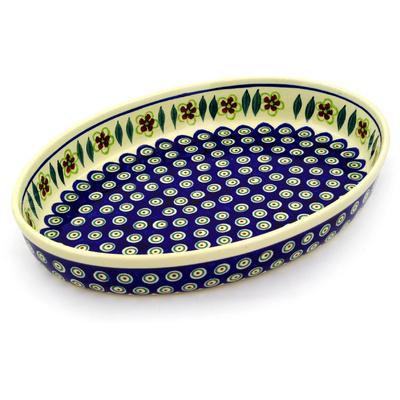 Polish Pottery 14-inch Oval Baker | Boleslawiec Stoneware | Polmedia H5710D