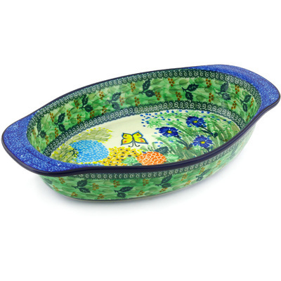 Polish Pottery 15-inch Oval Baker with Handles   Boleslawiec Stoneware   Polmedia H4975G