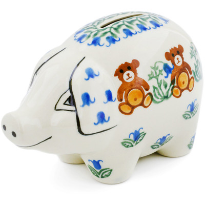 Polish Pottery 5-inch Piggy Bank | Boleslawiec Stoneware | Polmedia H4114B