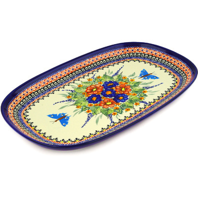 Polish Pottery 15-inch Platter | Boleslawiec Stoneware | Polmedia H0230E