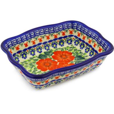 Polish Pottery 8-inch Rectangular Baker | Boleslawiec Stoneware | Polmedia H1797F