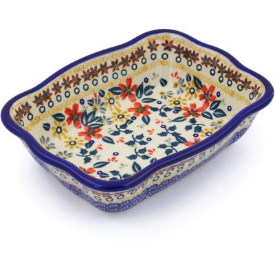 Polish Pottery 8-inch Rectangular Baker | Boleslawiec Stoneware | Polmedia H2620J