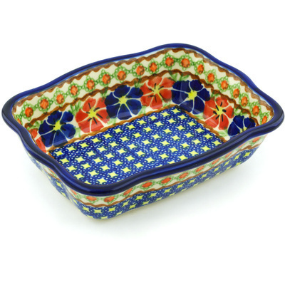 Polish Pottery 8-inch Rectangular Baker | Boleslawiec Stoneware | Polmedia H2331F