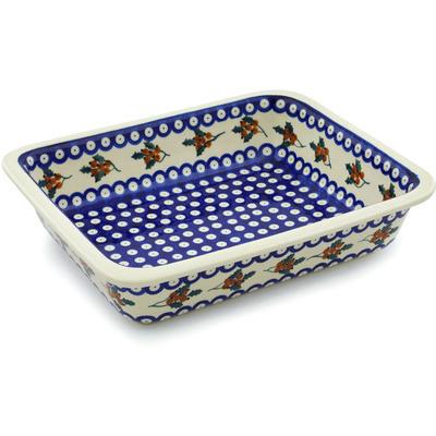 Polish Pottery 14-inch Rectangular Baker | Boleslawiec Stoneware | Polmedia H8222H