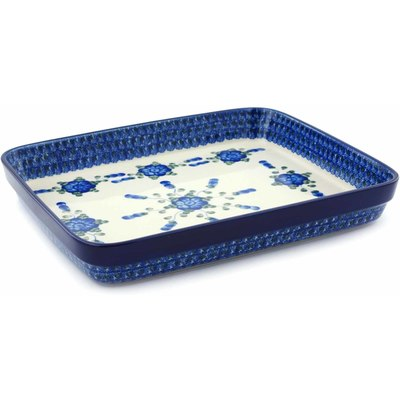 Polish Pottery 12-inch Rectangular Baker | Boleslawiec Stoneware | Polmedia H4901B