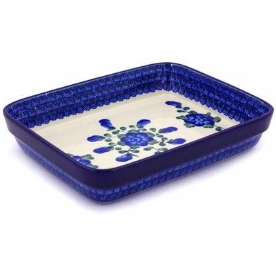 Polish Pottery 9-inch Rectangular Baker | Boleslawiec Stoneware | Polmedia H5613A
