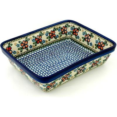 Polish Pottery 11-inch Rectangular Baker | Boleslawiec Stoneware | Polmedia H7165A