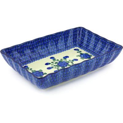 Polish Pottery 12-inch Rectangular Baker | Boleslawiec Stoneware | Polmedia H4785G