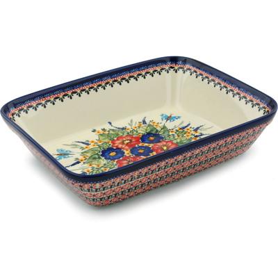 Polish Pottery 12-inch Rectangular Baker | Boleslawiec Stoneware | Polmedia H8883B