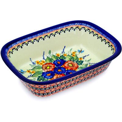Polish Pottery 10-inch Rectangular Baker | Boleslawiec Stoneware | Polmedia H2455D