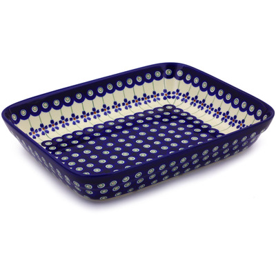 Polish Pottery 10-inch Rectangular Baker | Boleslawiec Stoneware | Polmedia H0535A