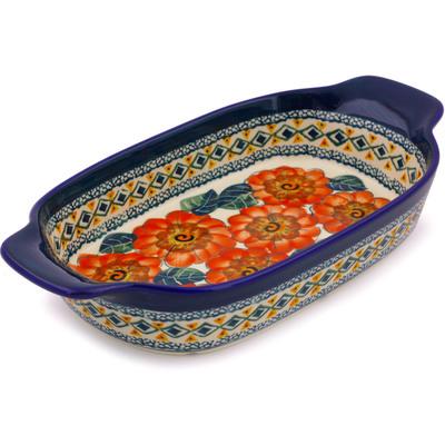 Polish Pottery 10-inch Rectangular Baker with Handles | Boleslawiec Stoneware | Polmedia H4292I