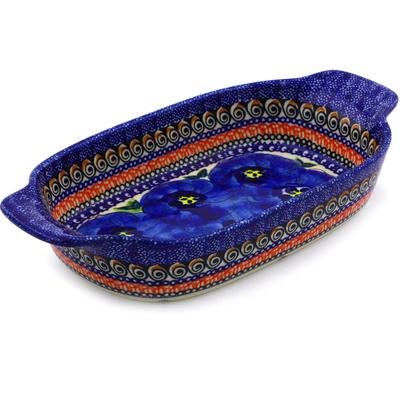 Polish Pottery 10-inch Rectangular Baker with Handles | Boleslawiec Stoneware | Polmedia H8745B