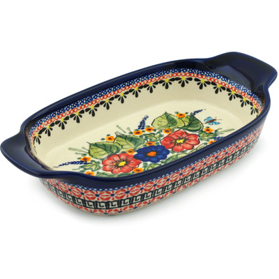 Polish Pottery 10-inch Rectangular Baker with Handles | Boleslawiec Stoneware | Polmedia H8746B