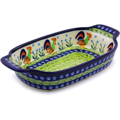 Polish Pottery 10-inch Rectangular Baker with Handles | Boleslawiec Stoneware | Polmedia H8057I
