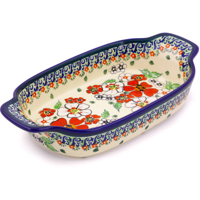 Polish Pottery 10-inch Rectangular Baker with Handles | Boleslawiec Stoneware | Polmedia H4294I