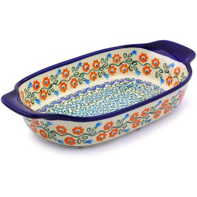 Polish Pottery 10-inch Rectangular Baker with Handles | Boleslawiec Stoneware | Polmedia H8061I