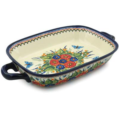 Polish Pottery 18-inch Rectangular Baker with Handles | Boleslawiec Stoneware | Polmedia H8760B